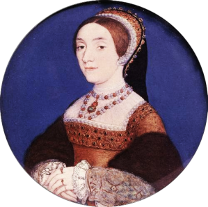 6 Katherine Howard Holbein miniature  with pearl and jewel necklace